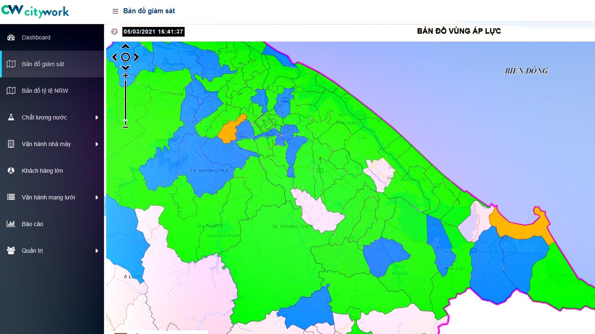 showcase-Giám sát áp lực nước trên bản đồ