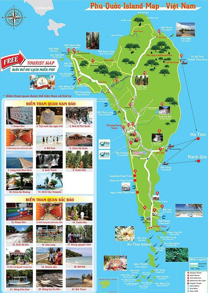 Bản đồ du lịch dành cho khách du lịch tìm đường đi, điểm đến trên bản đồ
