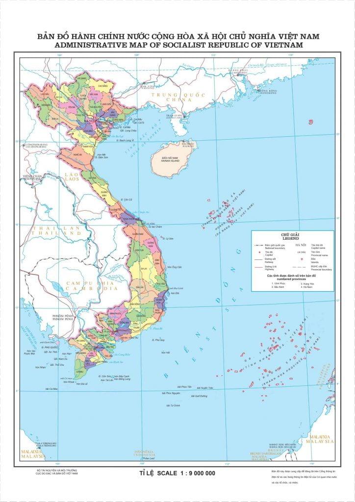 Bản đồ tỷ lệ 1:9.000.000