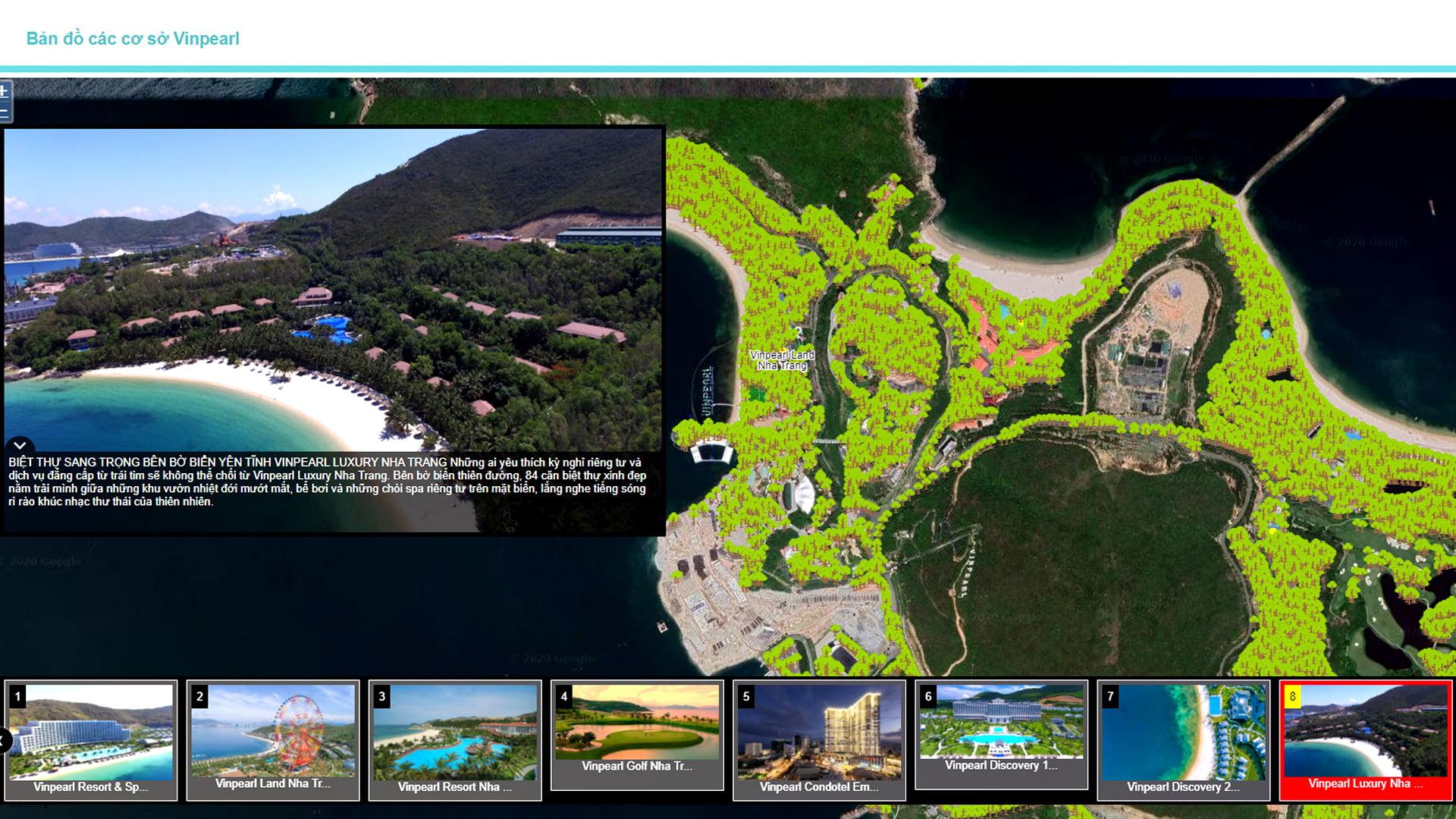 showcase-eKMap Server được áp dụng để cung cấp bản đồ cơ sở cây xanh cho mục đích quản lý và chăm sóc cây xanh, quản lý không gian cây xanh tại từng cơ sở du lịch của Vinpearl