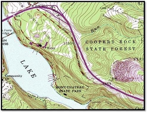 Bản đồ địa hình Rừng Bang Coopers Rock, Tây Virginia