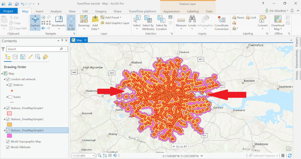 Chạy phân tích mạng lưới giao thông công cộng
