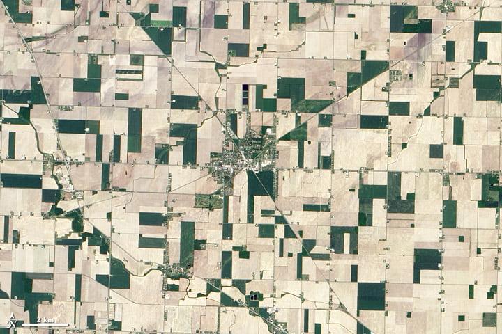 Hình ảnh các đường thẳng và hình dạng hình học tại Reese, Michigan thể hiện việc sử dụng đất của con người. Các đường cắt chéo qua các ô vuông xác định là cánh đồng nông trại (Hình ảnh từ Đài quan sát Trái đất của NASA, sử dụng dữ liệu ALI từ nhóm EO-1 NASA)