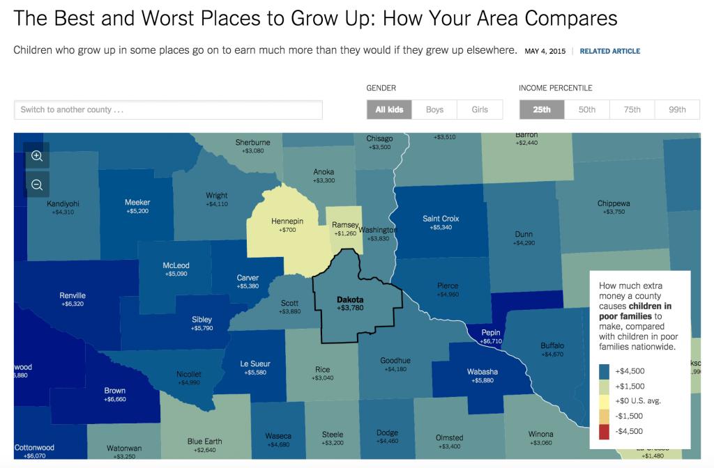 Bản đồ dân cư và đánh giá sự phát triển. Nguồn: The New York Times