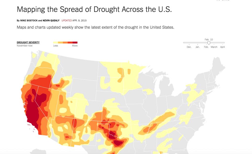Bản đồ hạn hán nước Mỹ. Nguồn: The New York Times