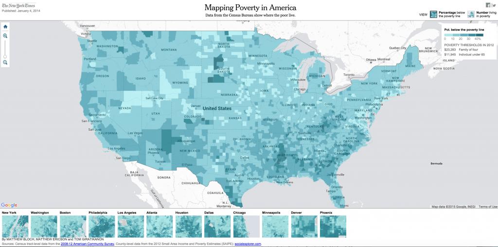 Ứng dụng của GIS trong lập bản đồ tình trạng nghèo đói tại Mỹ. Nguồn: The New York Times