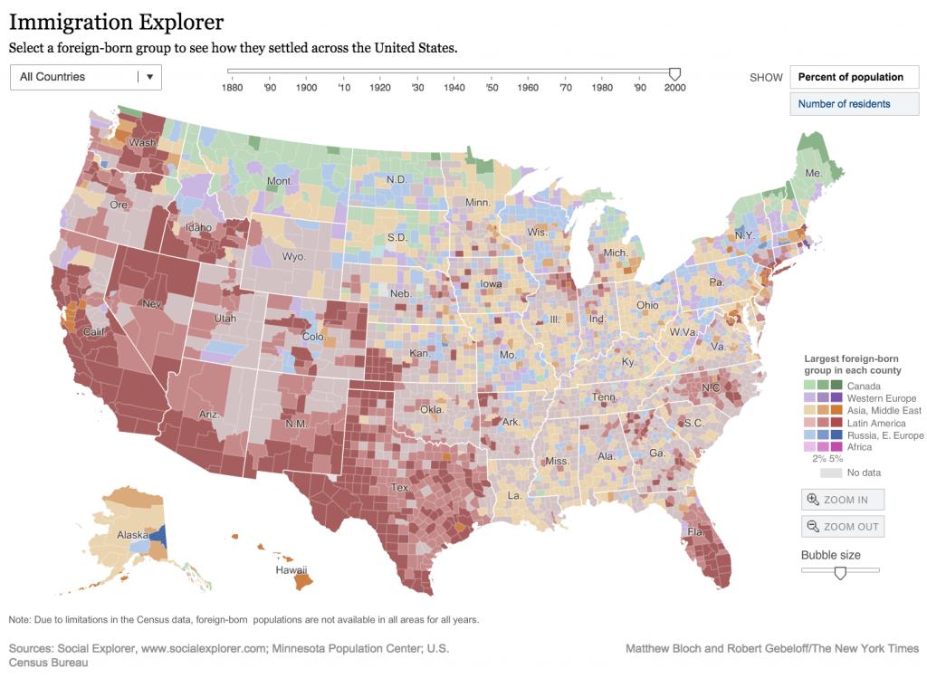 Bản đồ khám phá di trú Mỹ. Nguồn: The New York Times