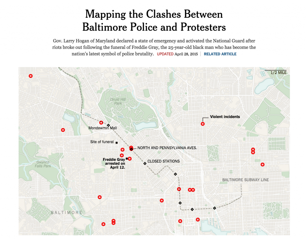 Bản đồ thể hiện cuộc đụng độ giữa cảnh sát Baltimore và người biểu tình