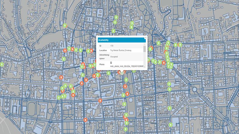 Các trường thông tin thể hiện trên bản đồ quản lý vị trí quảng cáo trên thùng rác