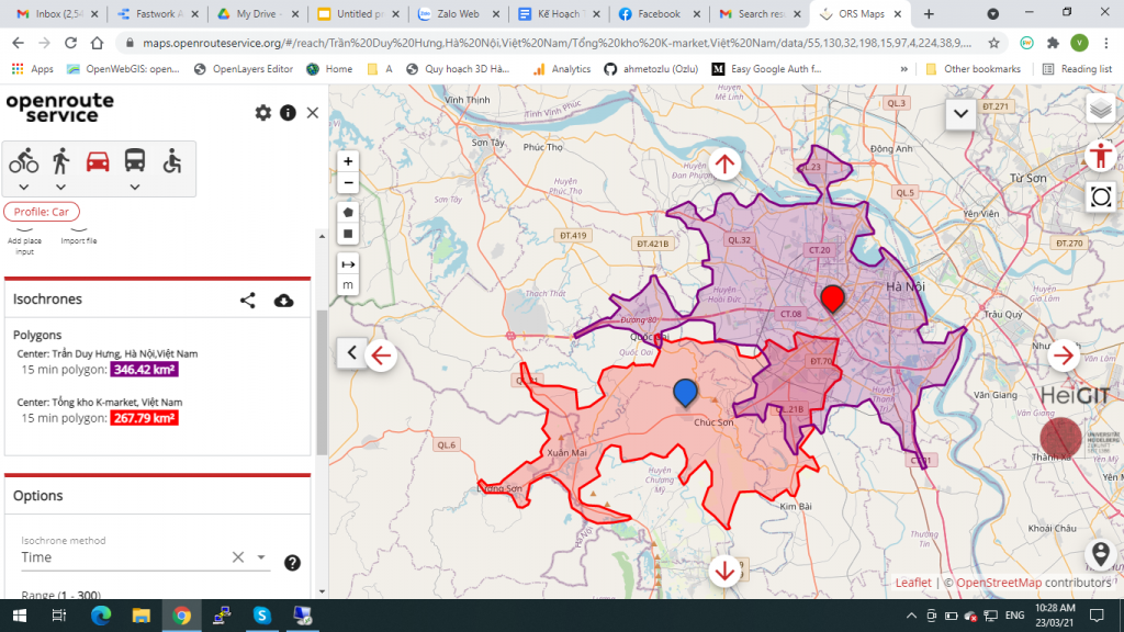 Bản đồ độ phủ theo vùng phục vụ