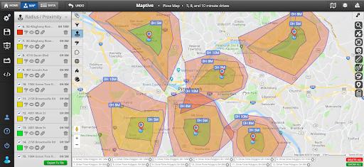 Bản đồ bán kính để lập kế hoạch cung ứng