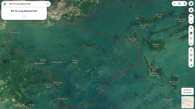 Hình ảnh Vịnh Bái Tử Long trên Đài quan sát Trái đất của NASA