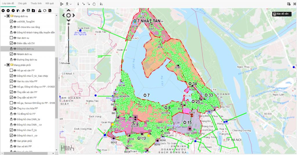 Bản đồ mạng phân phối dịch vụ XN KDNS Ba Đình